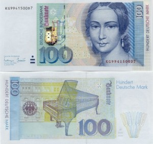 100 марок с изображением Клары Шуман
