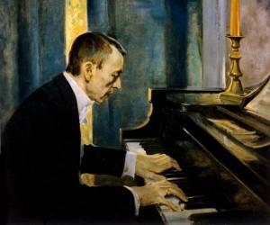 Г. Э. Чемберс. С. В. Рахманинов за роялем, 1930-е годы